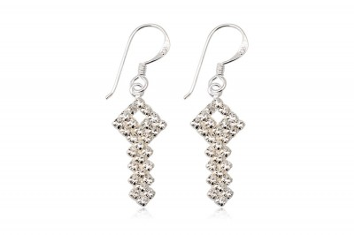Cercei cheite din argint si cristale albe