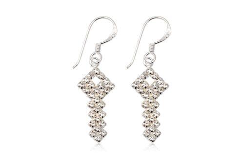 cercei cheite din argint cu cristale albe