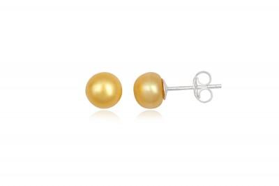 Cercei cu perle galbene si argint