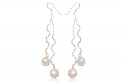 Cercei lungi de mireasa cu perle naturale