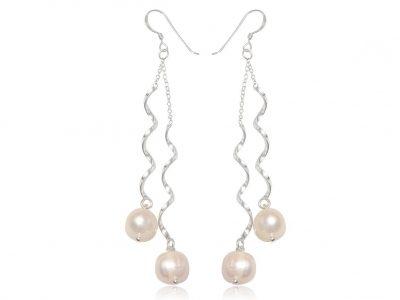 cercei lungi de mireasa cu perle