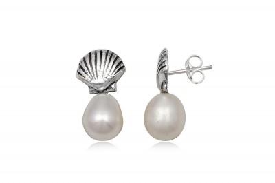 Cercei cu perle ovale si scoici din argint