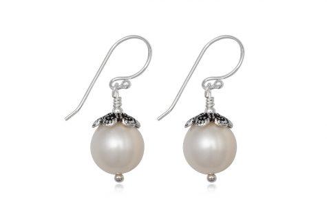 cercei perle si ornamente florale argint