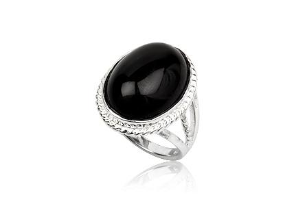 inel cu piatra ovala din onix negru