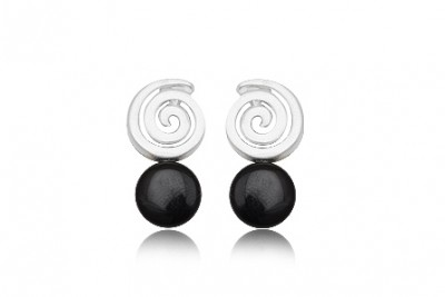 Cercei Spirale din argint si Onix negru