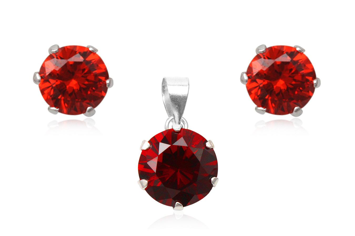 set din argint cu zirconii rosii