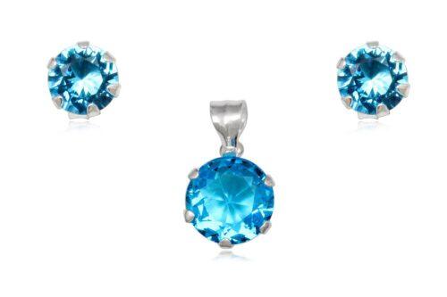 set din argint cu zirconii bleu
