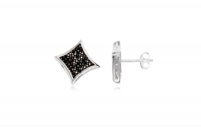Cercei romburi din argint cu zirconii gri