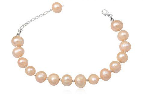 bratara din perle roz somon 10 mm