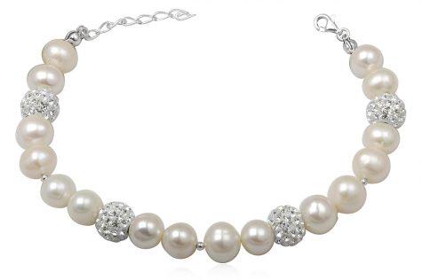 bratara mireasa cu perle albe si cristale