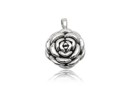 medalion trandafir din argint cu multe petale