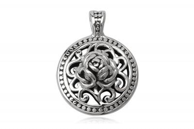 Pandantiv supradimensionat cu trandafir din argint