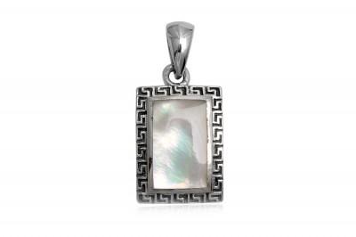 Pandantiv din argint cu sidef si simboluri grecesti