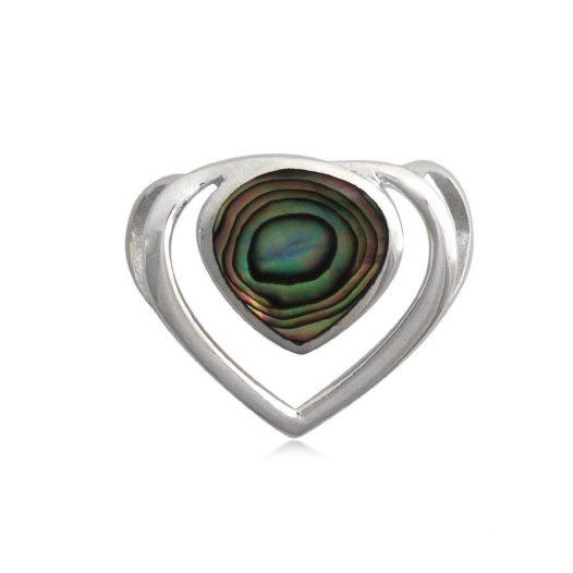 pandantiv inima argint cu abalon