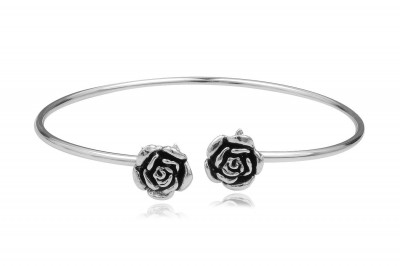 Bratara fixa din argint cu trandafiri