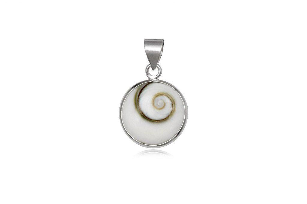 Medalion Din Scoica Ochiul Lui Shiva Si Argint 925