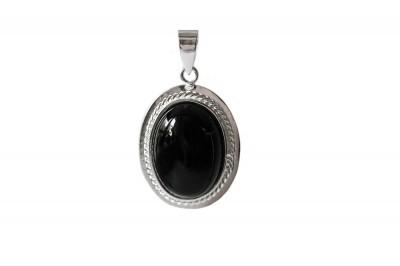 Pandantiv oval din onix negru si argint 925