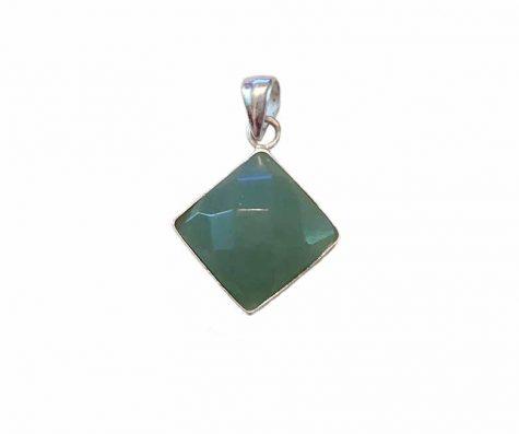 pandantiv romb cuart verde si argint