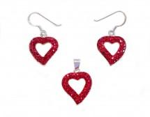 Set romantic cu inimi rosii din cristale