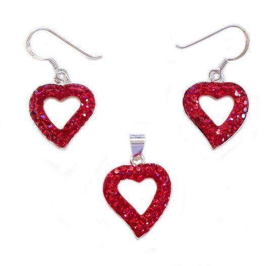 set romantic cu inimi rosii