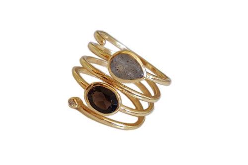 inel spirala placat cu aur 18k