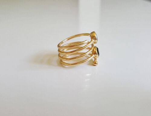 inel spirala alama placata cu aur