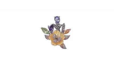 Pandantiv Floare cu pietre multicolore