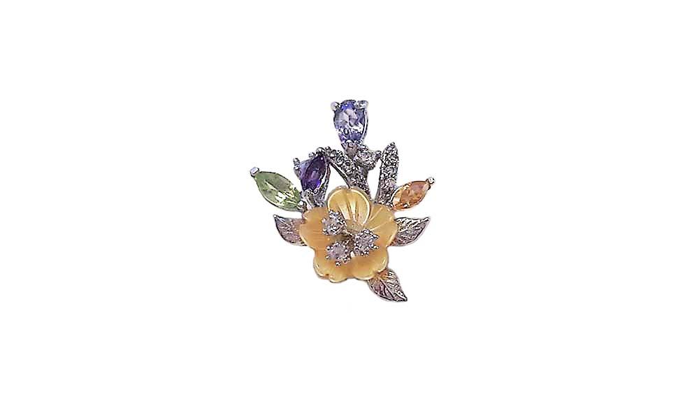 pandantiv floare cu pietre colorate
