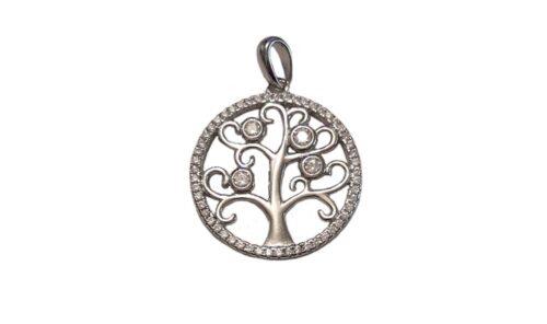 medalion copacul vietii cu zirconii albe