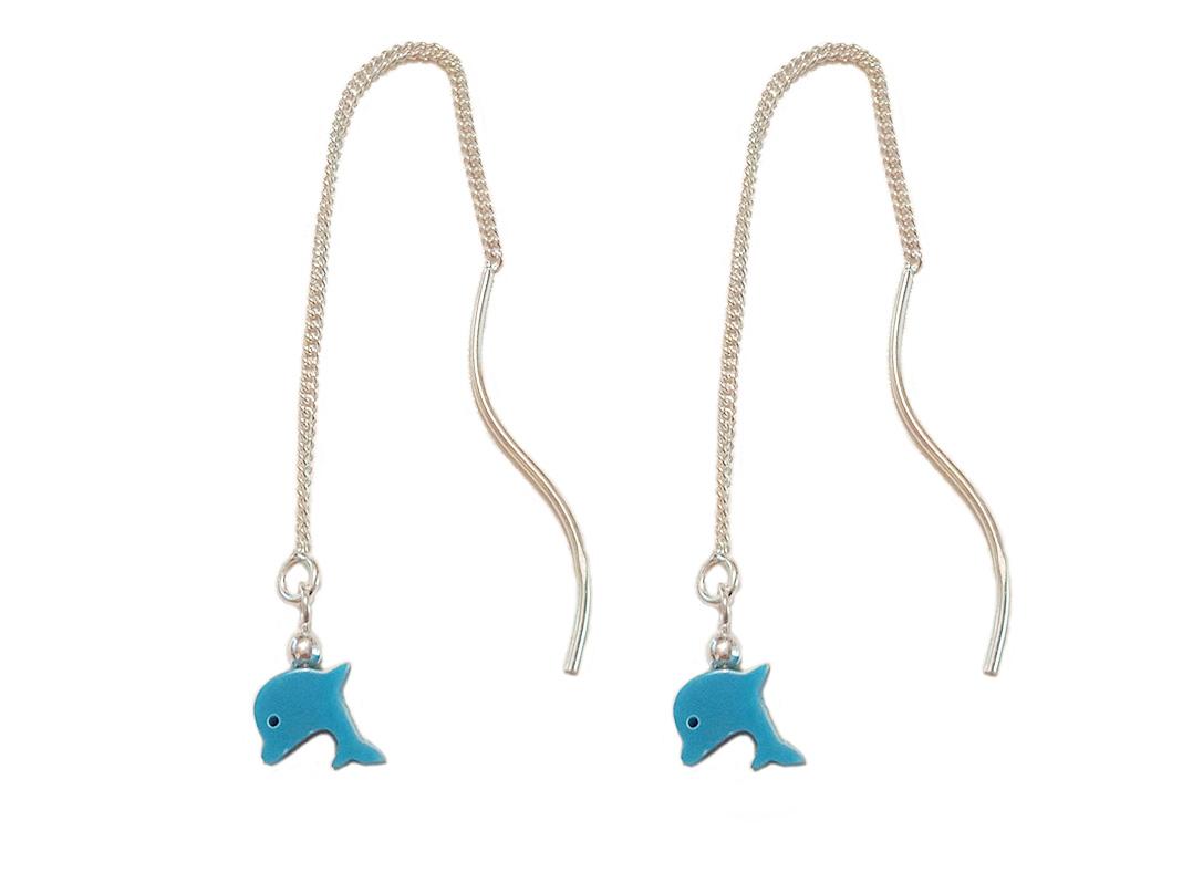 cercei lungi cu delfini albastri