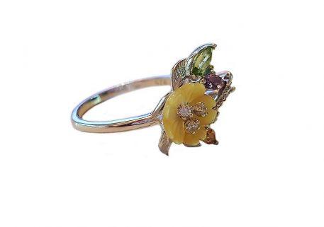 inel argint cu floare din sidef