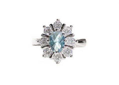 inel argint rodiat cu floare bleu