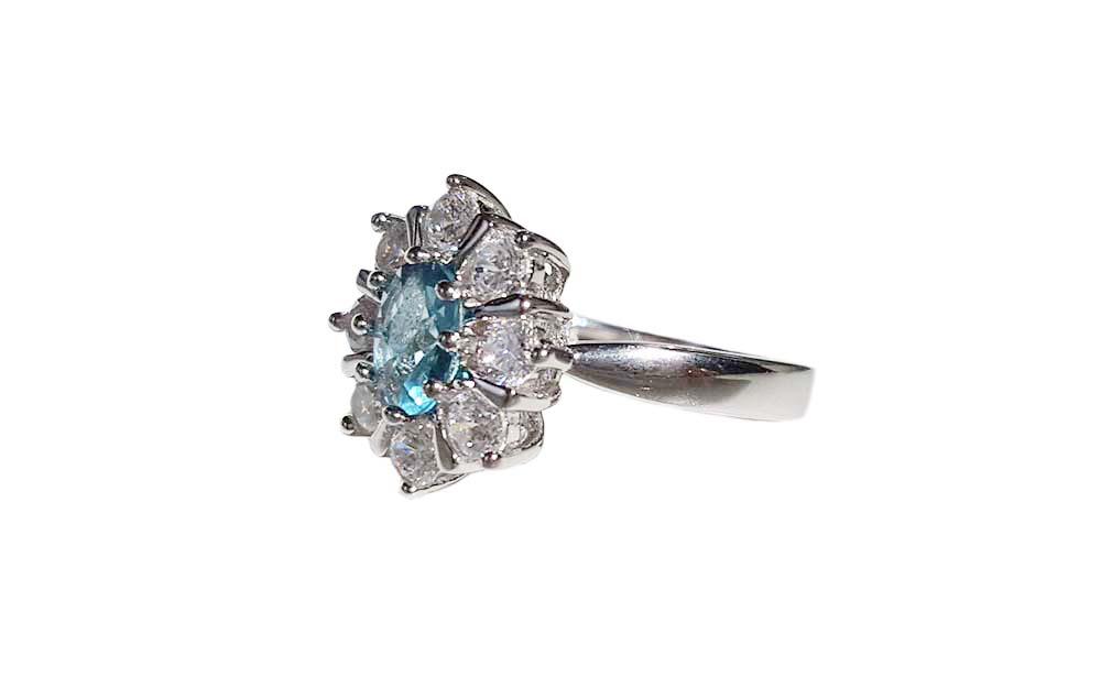 inel argint cu zirconii bleu si albe