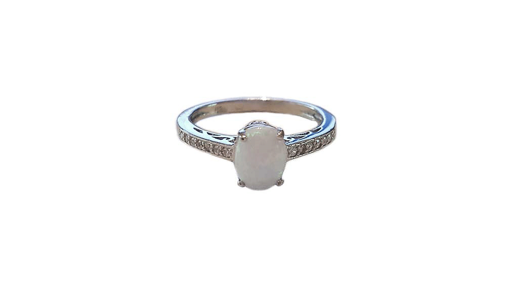 inel argint cu opal alb
