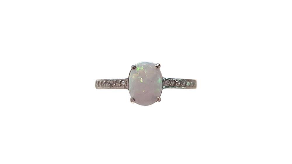 inel argint 925 cu opal si zircon