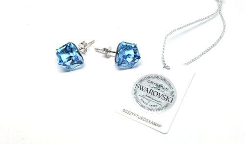 cercei cristale swarovski bleu