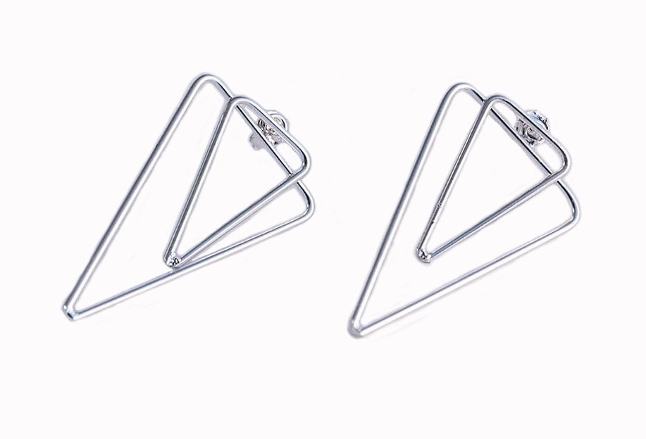 cercei triunghiuri din argint