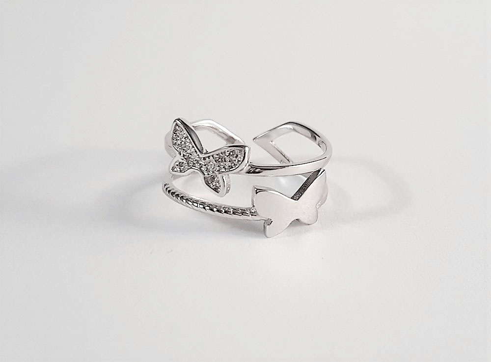 inel argint rodiat cu fluturi