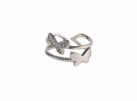 inel argint cu doi fluturi
