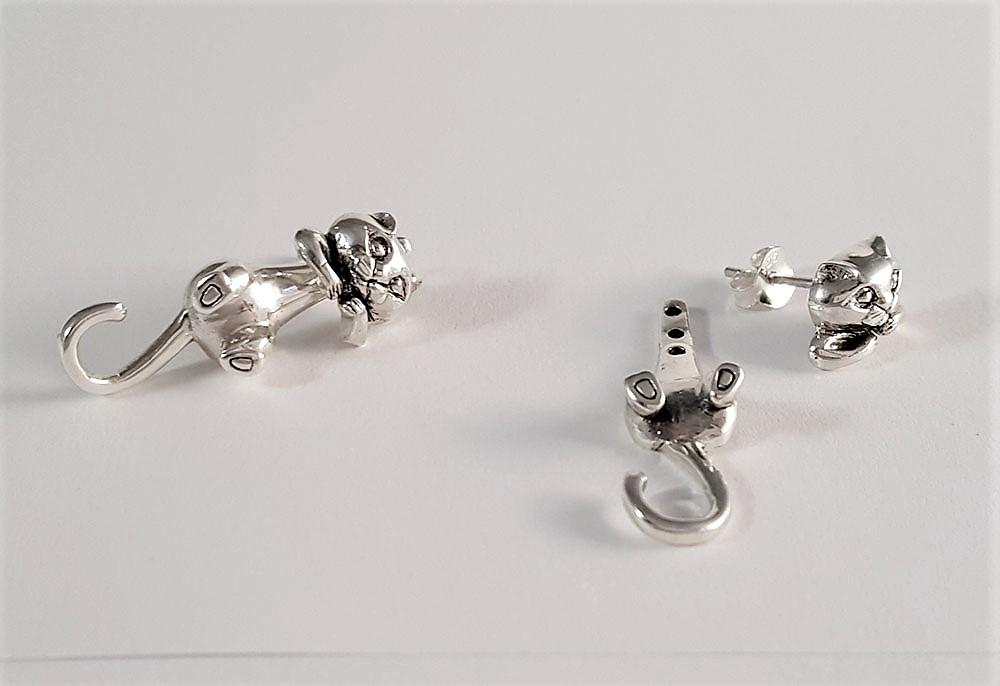 cercei dubli din argint cu pisicute