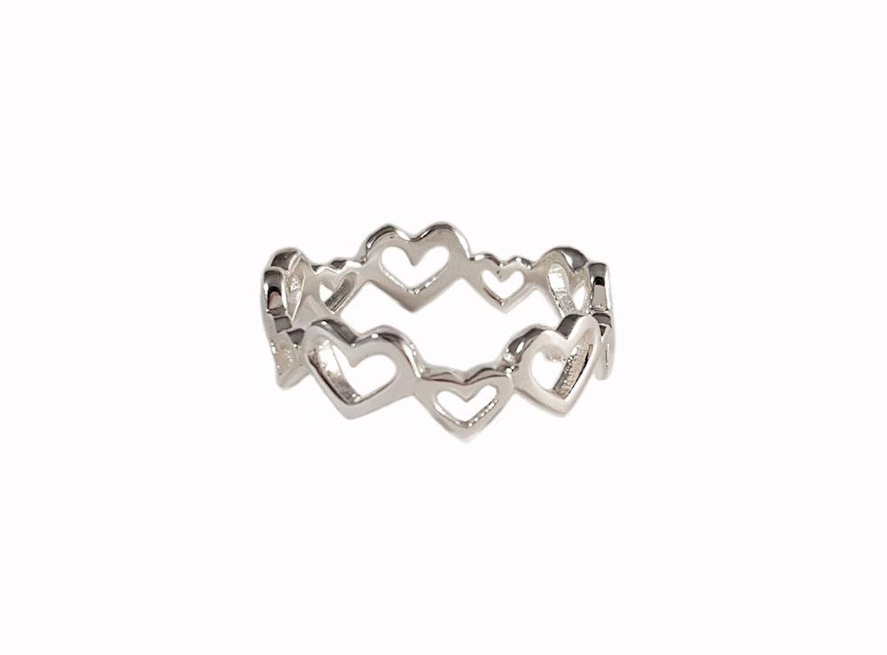 inel verigheta argint cu inimi