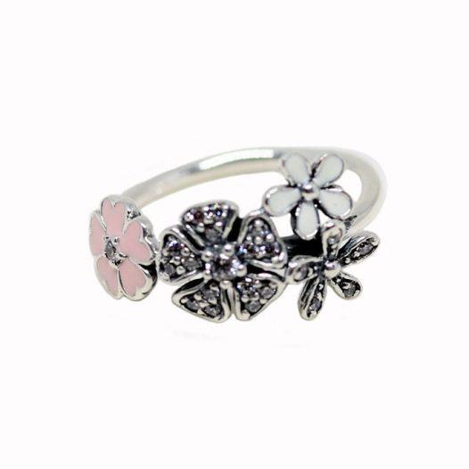 inel argint cu flori diafane