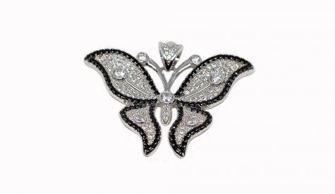 pandantiv fluture cu rodiu negru