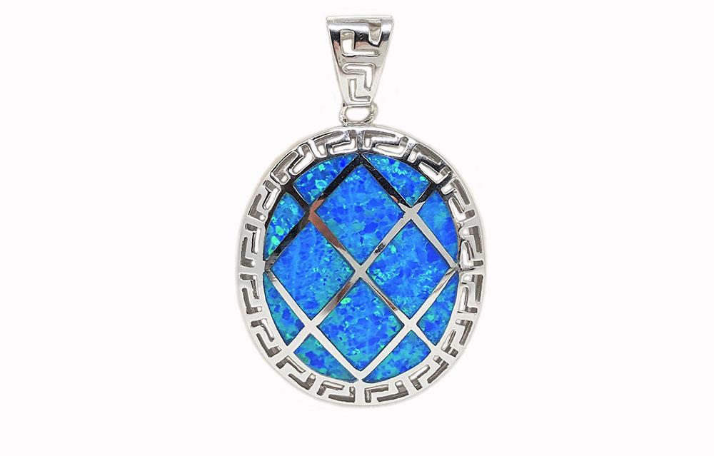 medalion argint si opal bleu