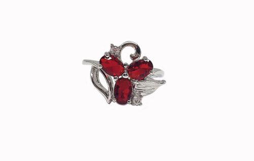 inel argint cu floare rosie