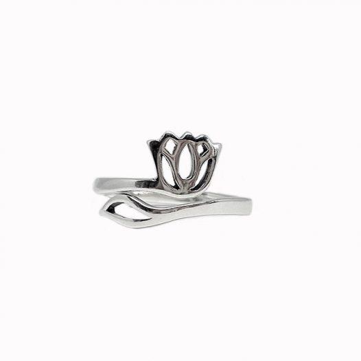 inel floare de lotus argint