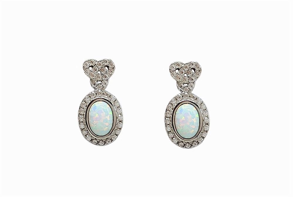 cercei argint model celtic cu opal