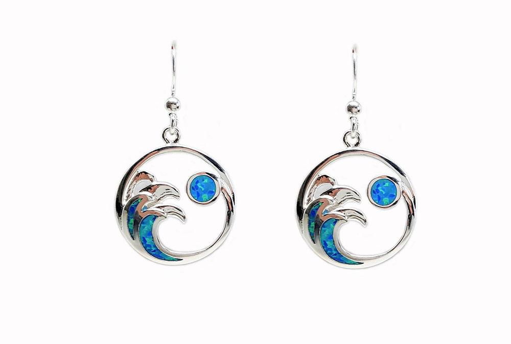 cercei argint valuri de opal