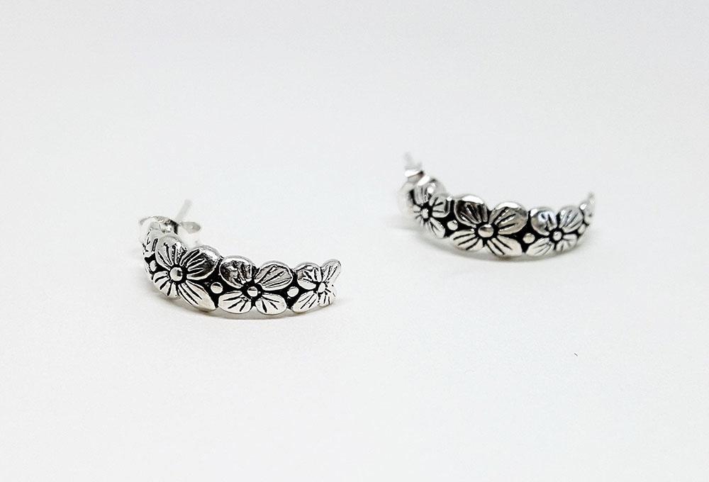 cercei semicerc argint cu flori