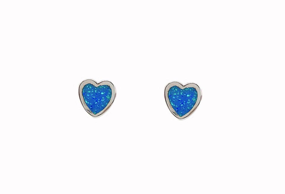 cercei inimi de opal si argint
